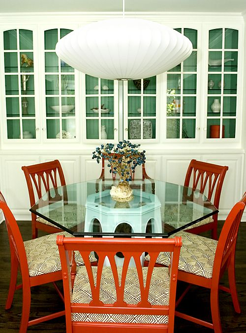 Dining Roomnelson Pendantred Painted Lacquered Chairsfarrow Stunning Blue Green Dining Room Inspiration Design