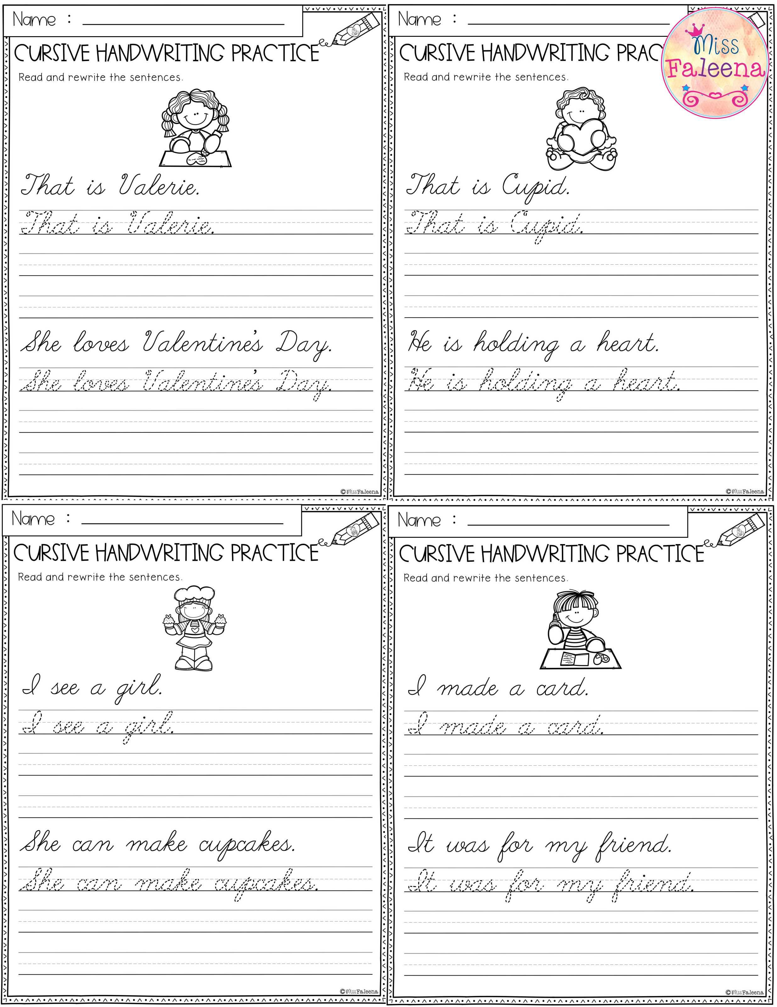 Valentine S Day Cursive Handwriting Practice