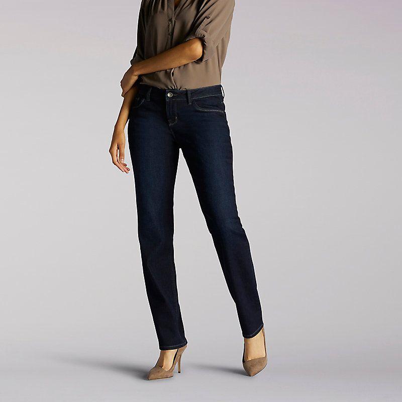 9f5dc0ed06cbb Lee Women s Secretly Shapes Regular Fit Straight Leg Jeans (Size 12 Slim)