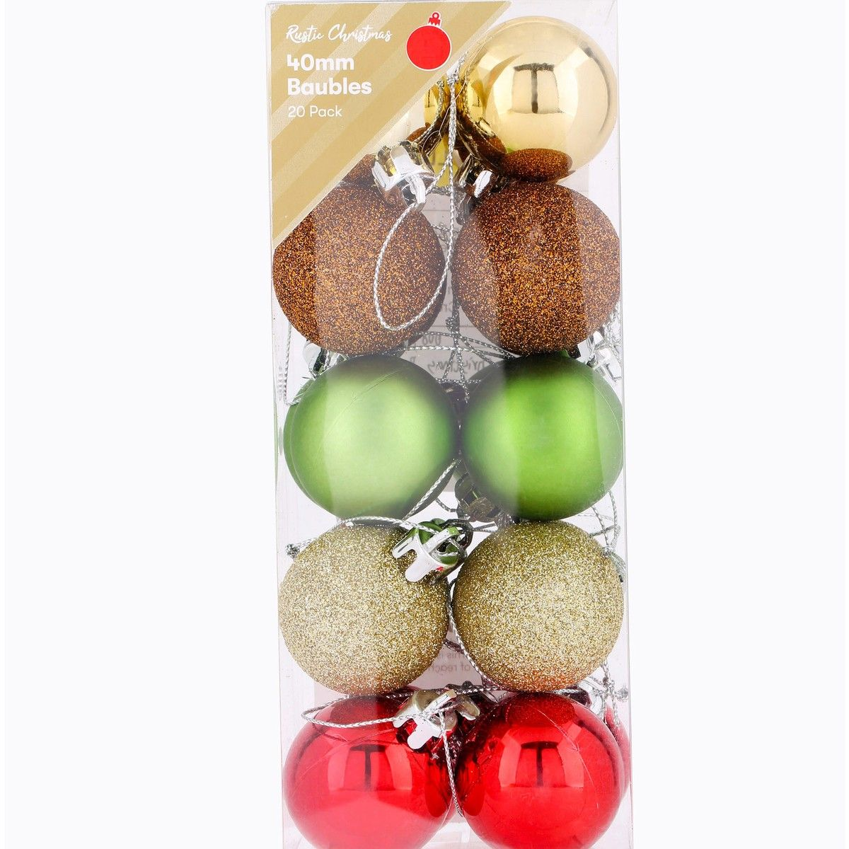 Christmas Rustic 40mm Baubles 20 Pack Multi Big W Xmas Decorations Rustic Christmas Christmas Baubles