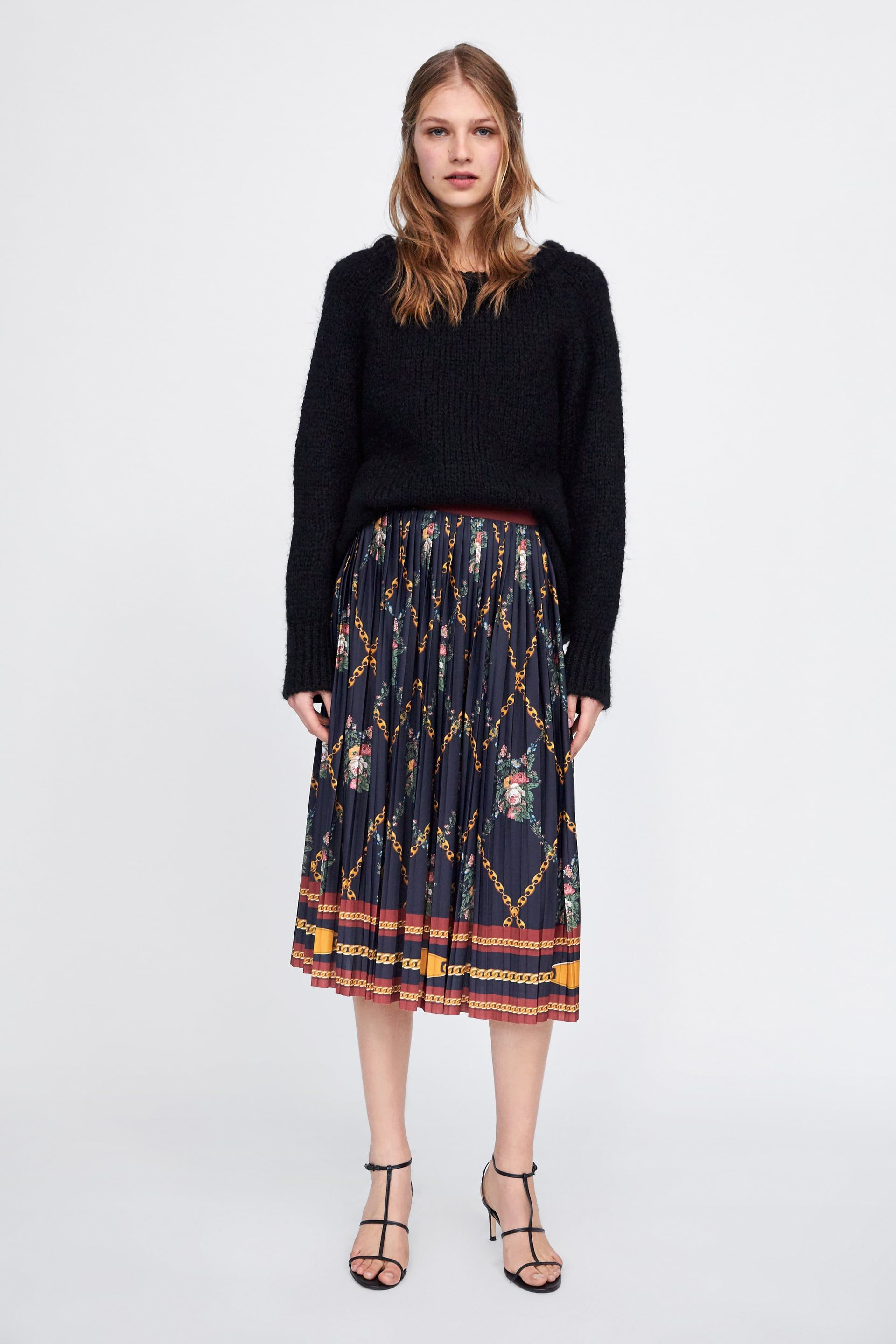 95e218ed5150 Image 1 of CHAIN PRINT PLEATED SKIRT from Zara | My Style in 2019 ...