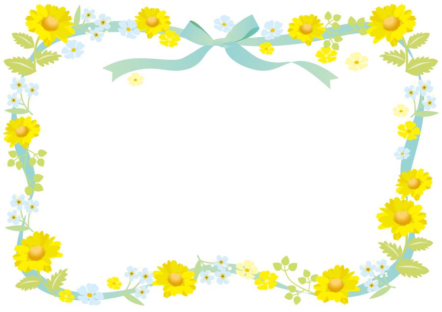 フリーイラスト 花とリボンの飾り枠 飾り枠 花 イラスト お祝いカード