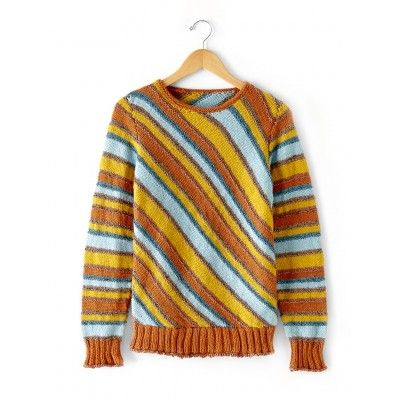 740fd4bcf15ba Diagonal Stripes Sweater- striking use of stripes. Would make a good stash  buster pattern. Free instructions.