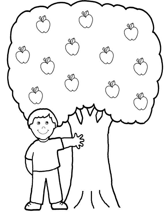 Apple Tree And Small Children Coloring Pages Sachen Schule