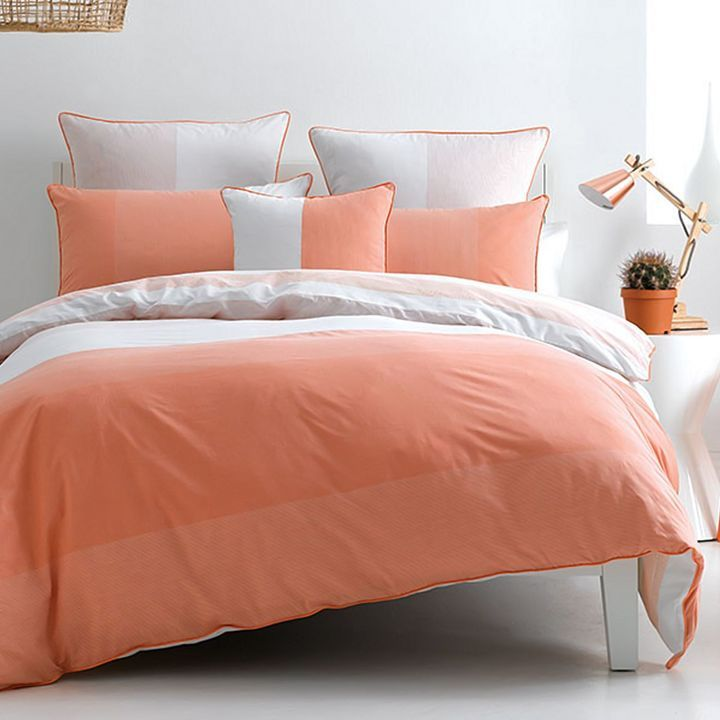 Deco Dax Quilt Cover Set, Peach Puff Single