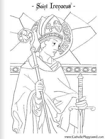 Saint Irenaeus Catholic coloring page Feast day is June