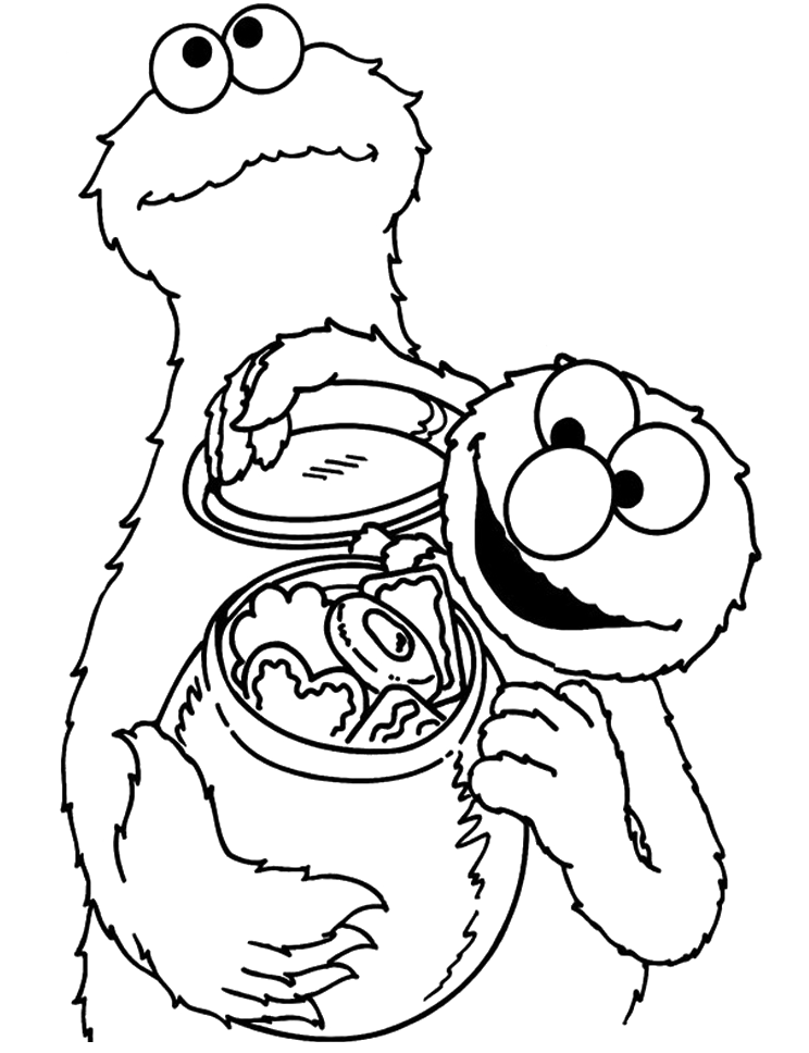 Cookie Monster Very Happy Cookie Monster With Elmo Coloring Monster Coloring Pages Elmo Coloring Pages Coloring Pages