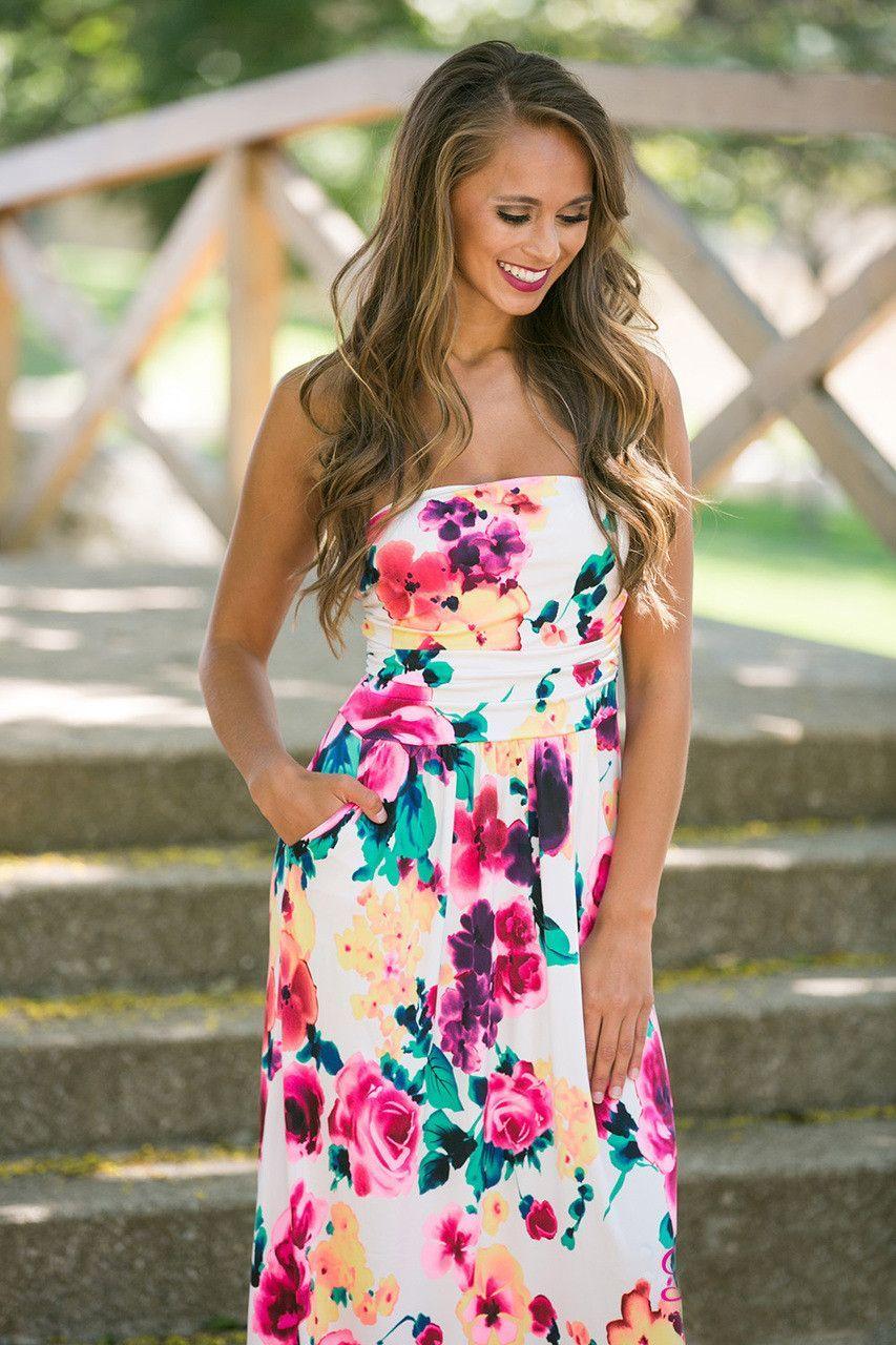 Print Strapless High-waist Slim Long Dress  965c4ec67e8d