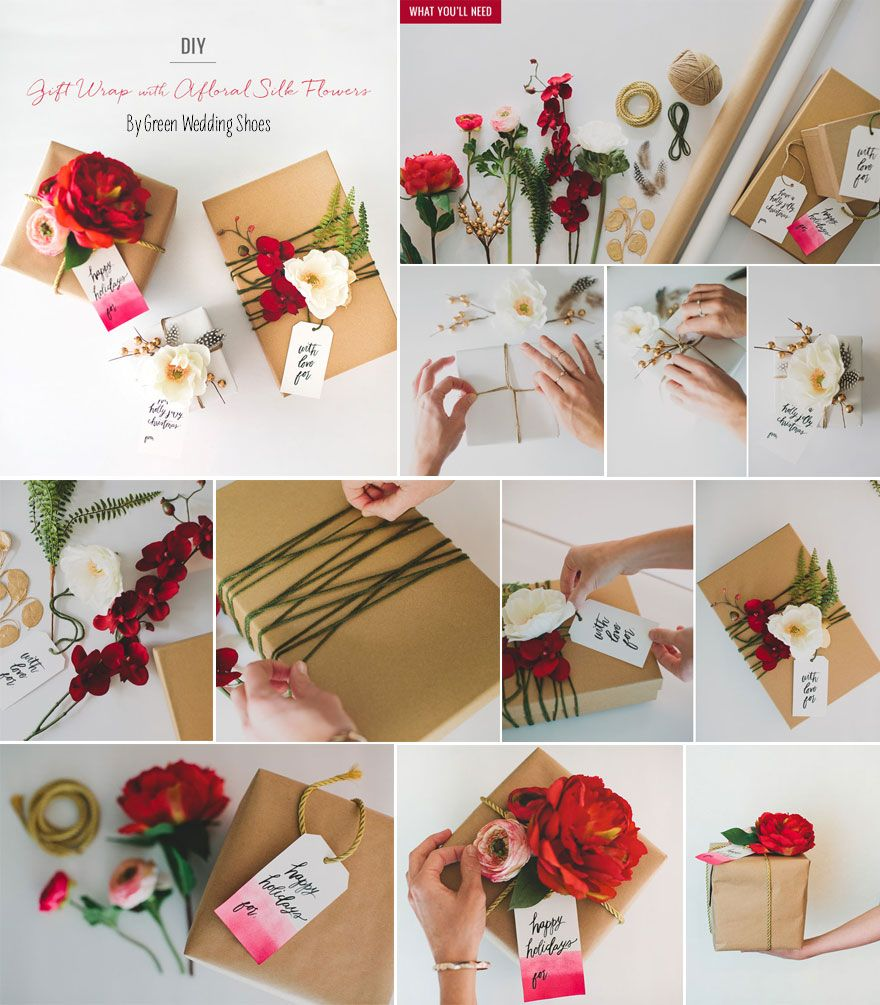 Gift Wrapping Ideas For Wedding: DIY Gift Wrapping Ideas - Silk Flowers