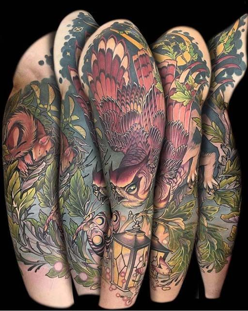 sleeve tattoo owl and lantern | tattoo Sleeves | Pinterest ...