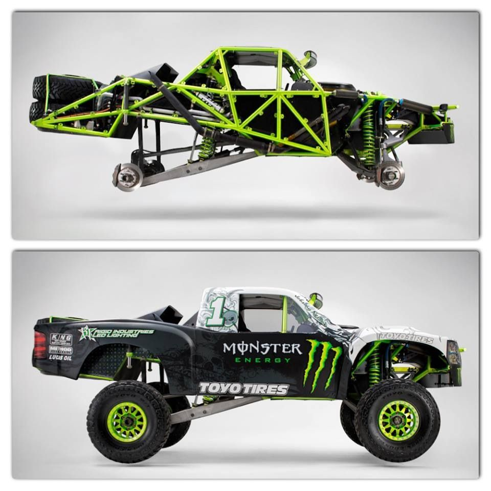 Monster baja truck with and without skin - note the long arm rear ...