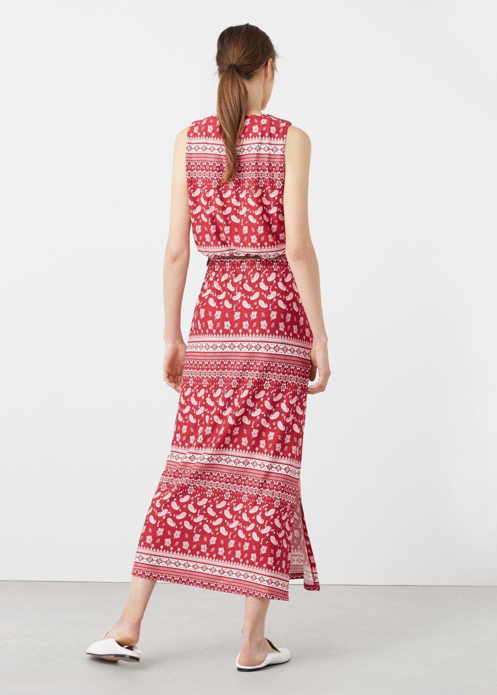 Принтованное платье с пояском   MANGO МАНГО