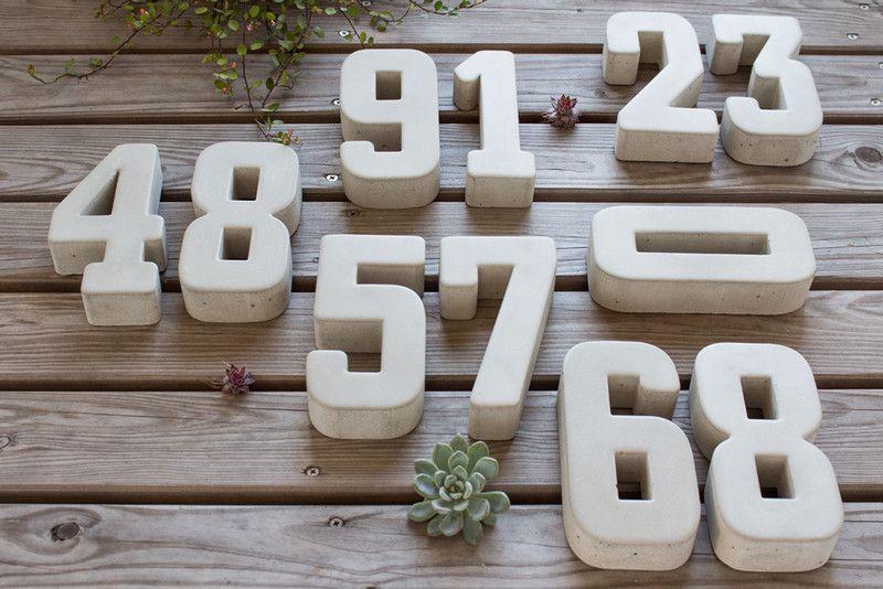 Hausnummern - Hausnummern Design M in Beton-Optik (0-9) - ein Designerstück von werk17 bei DaWanda