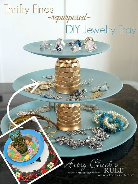 plastic plates and old juice glasses turned tiered jewelry tray, chalk paint, crafts, repurposing upcycling