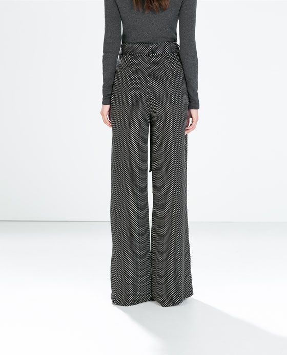 Zara Mujer Pantalon Ancho Topo Pequeno Trousers Women Wide Leg Fashion Pants Zara