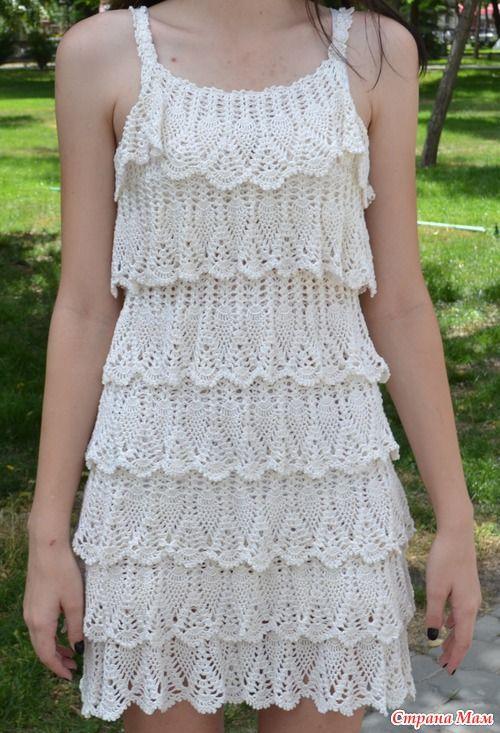 crochelinhasagulhas: Vestido branco em crochê | tejidoTejido De ...