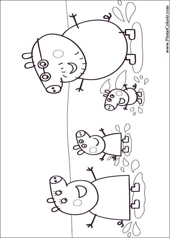 pintar e colorir peppa pig desenho 008 τουρτες pinterest