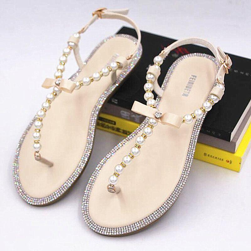 2017 bow women s flip-flop sandals flip flops rhinestone pearl sandals  female flat sandals women s a74dfd405773