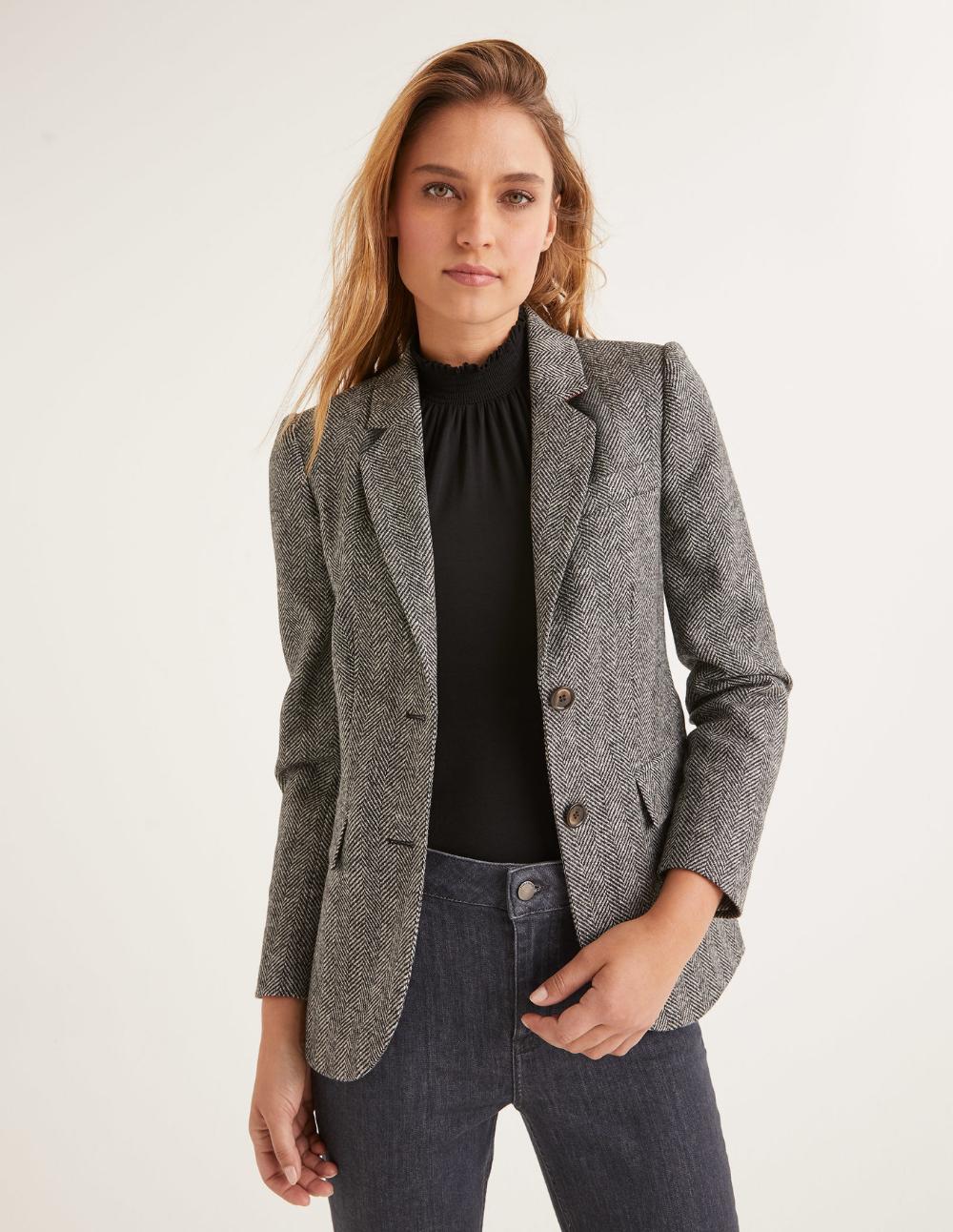 Smyth Tweed Blazer Charcoal Herringbone Blazer Tweed Blazer Tweed