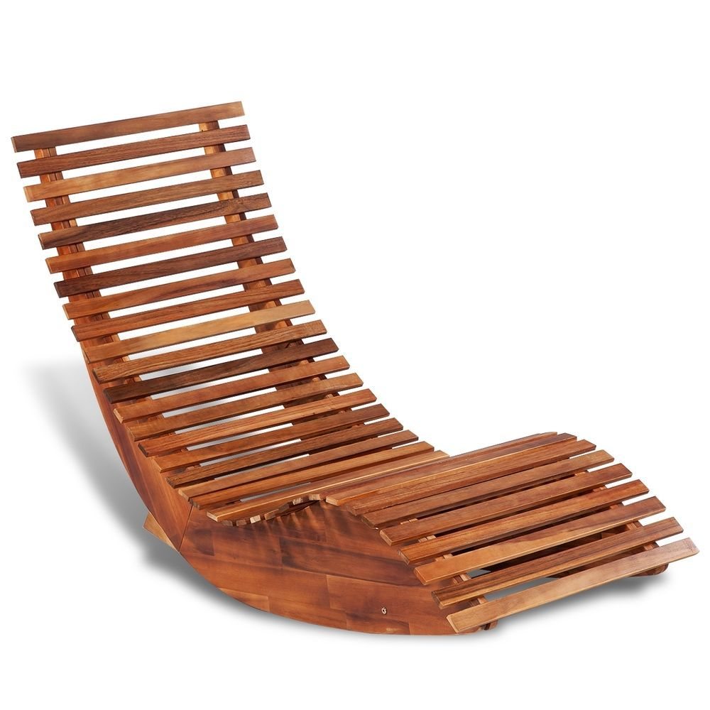 Details About Outdoor Rocking Chair Acacia Wood Recliner Reclining Wooden  Patio Deck Lounger