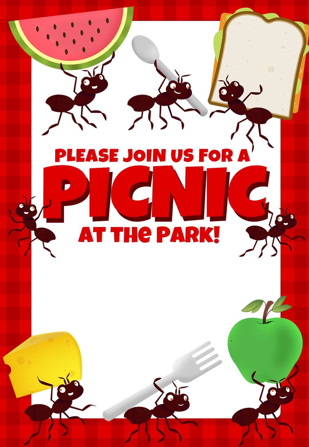 Picnic Party Free Printable Dinner Party Invitation Template