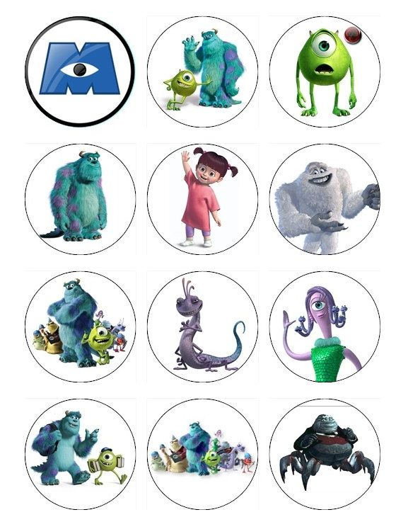 Monsters Inc Edible Cake Toppers