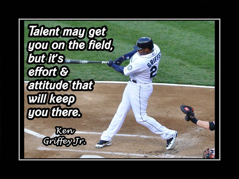 193f2c0414 Baseball Motivation Poster Ken Griffey Jr Mariners Photo Quote Wall Art  5x7