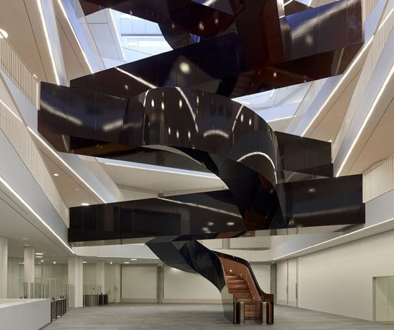 The eye-catching, high-gloss staircase at UN City, the UN's new regional HQ in Copenhagen, inspires employees to use the stairs and have inf...