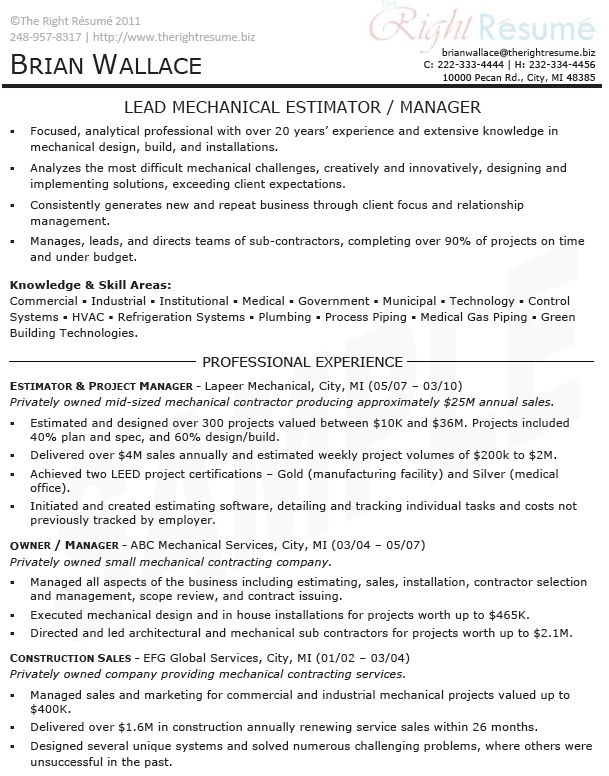 download sample resume for project management samplesg example - General Contractor Resume Sample