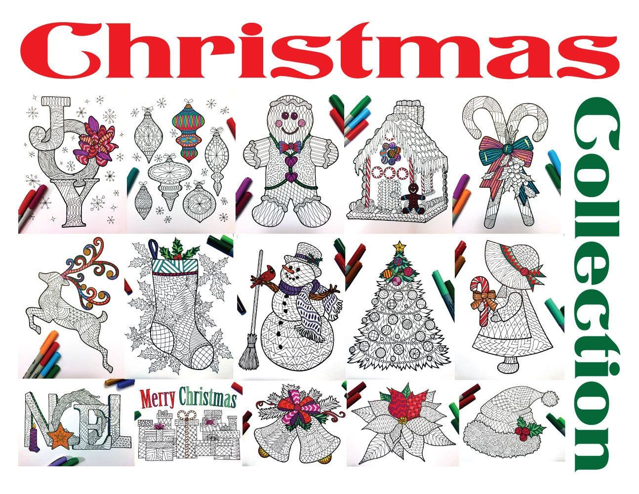 Christmas Collection Set of 15 PDF Zentangle Coloring