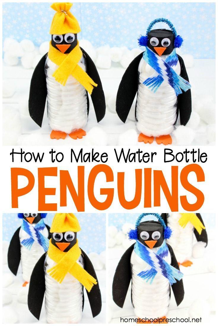 DIY Bastelidee für Kinder: Pinguin aus Wasserflasche #penguincraft