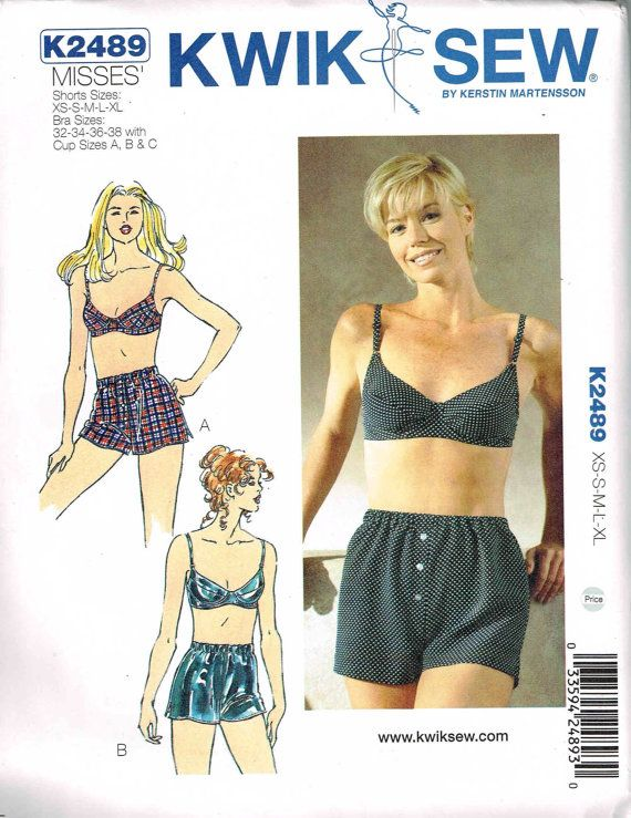 Bra and Boxer Shorts Sewing Pattern Kwik Sew 2489 by PeoplePackages ...