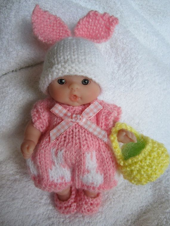 Knitted Easter Bunny Romper Set pink for 5 inch Berenguer baby doll ...