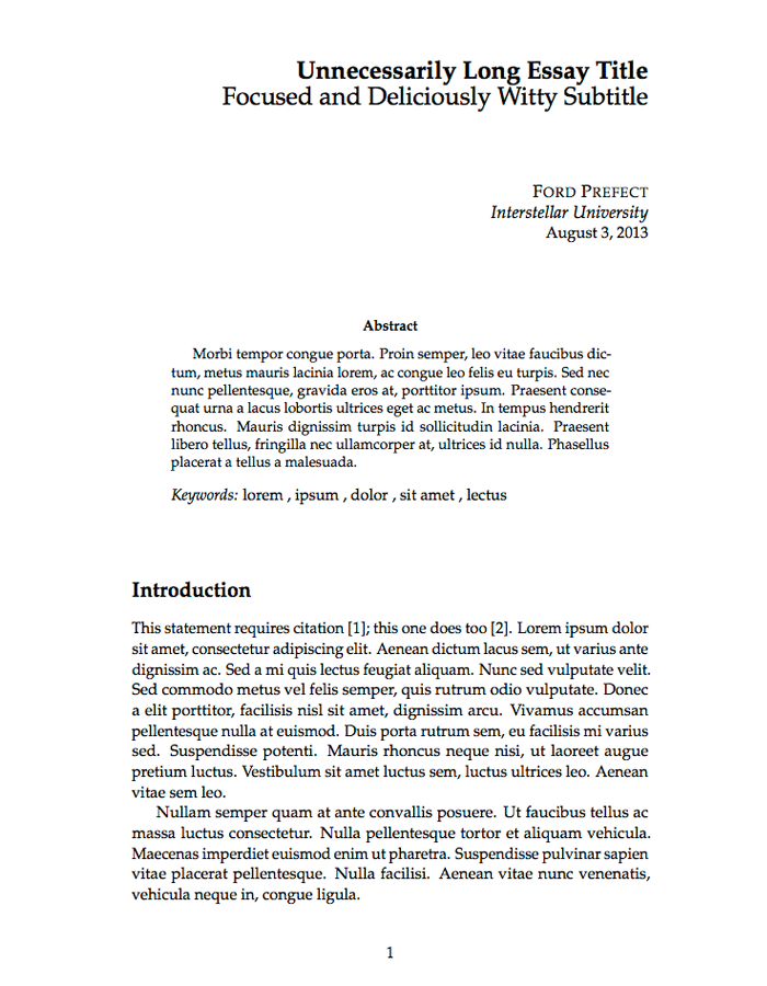 Thin Sectioned Essay LaTeX Template