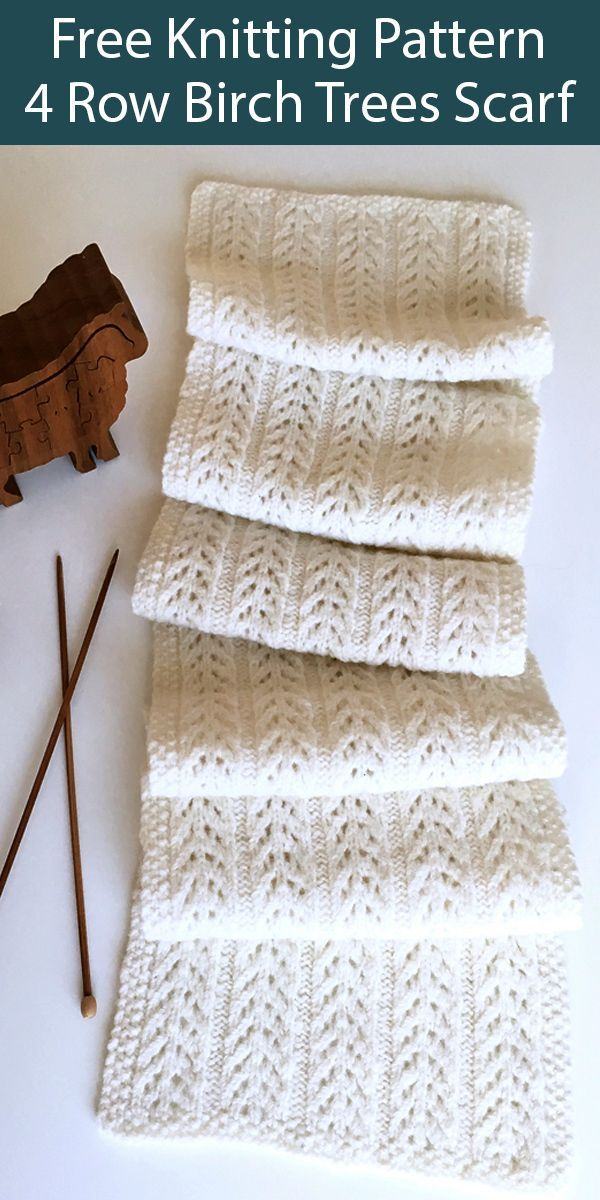 Free Knitting Pattern for 4 Row Repeat Birch Trees Scarf