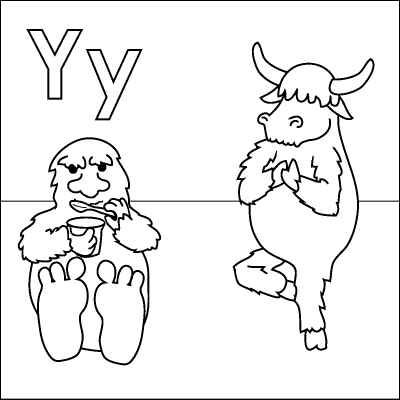 Letter Y Coloring Page Yeti Yoghurt Yak Yoga Color It In
