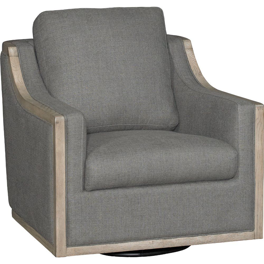 Charcoal Gray Swivel Barrel Accent Chair Bayly Fabric