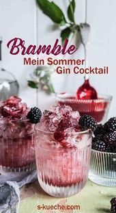 Bramble  My Summer Gin Cocktail of Blackberries Gin and Lemon