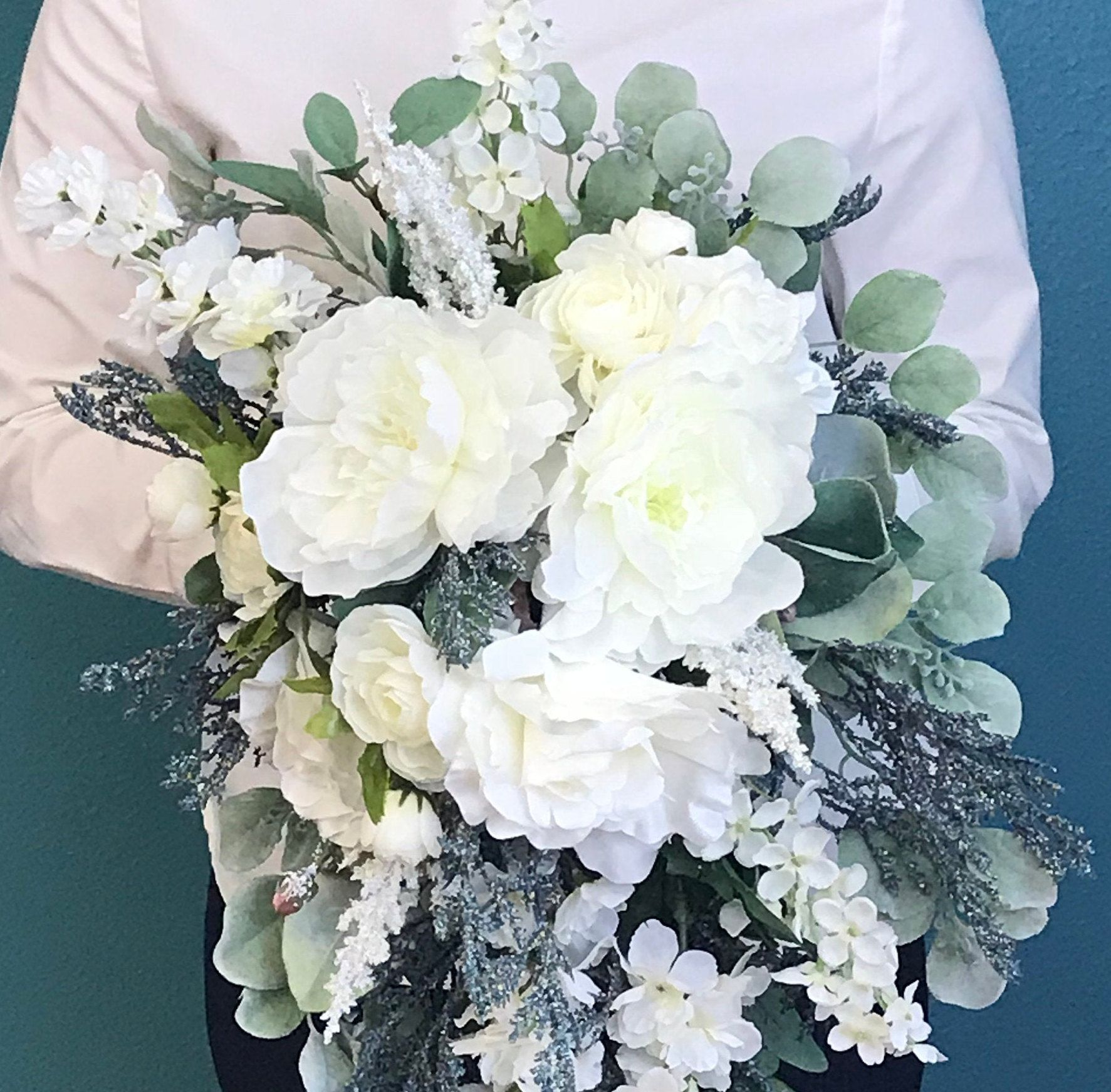 White & Blue Silk Cascading Bridal Bouquet-Steel Blue Bridal Bouquet-Steel Blue Statice-Peonies-English Garden Rose-Cabbage Rose-Delphiniums #whitebridalbouquets