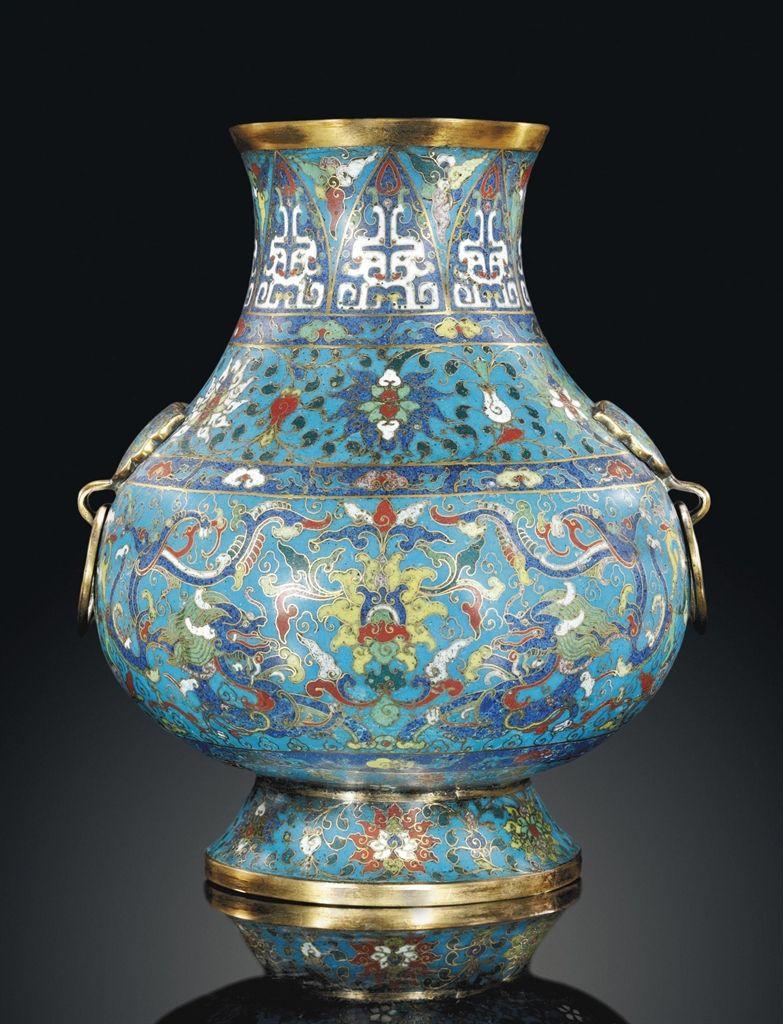 A Cloisonn 201 Enamel Vase Hu 18th Century Chinese