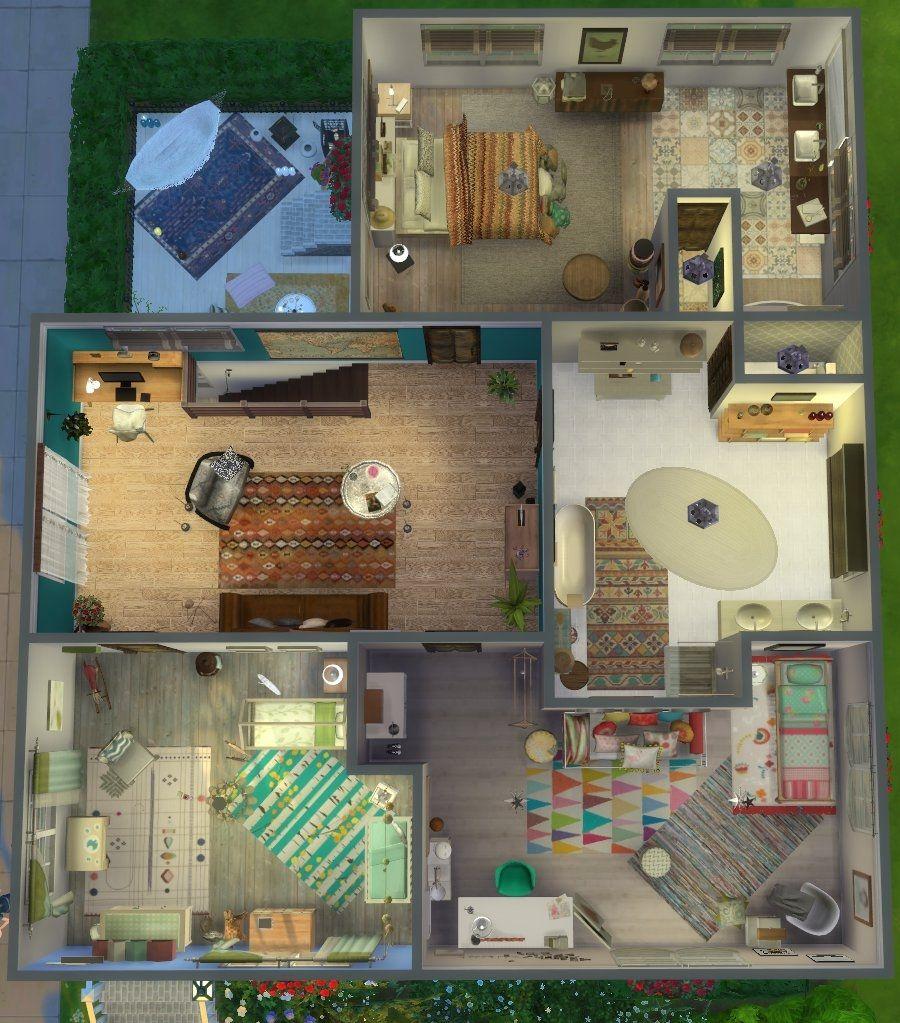 maison boh me chic plan tage les sims 4 pinterest maison boh me boh me chic et tages. Black Bedroom Furniture Sets. Home Design Ideas