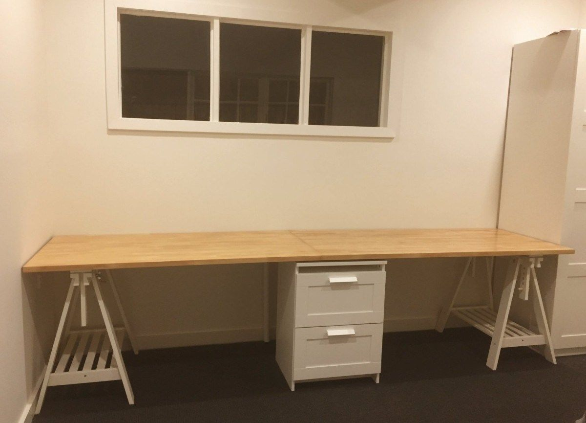 Long Wooden Home Office Study Bench Desk Ikea Hackers Ikea Desk Home Desk Computer Desks For Home
