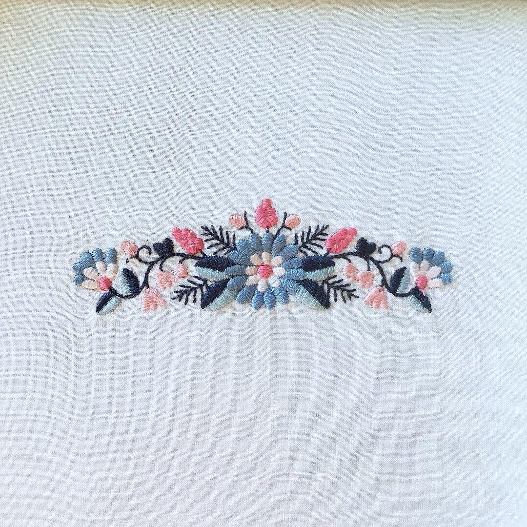 Folk Floral Border machine embroidery design Boho Flower
