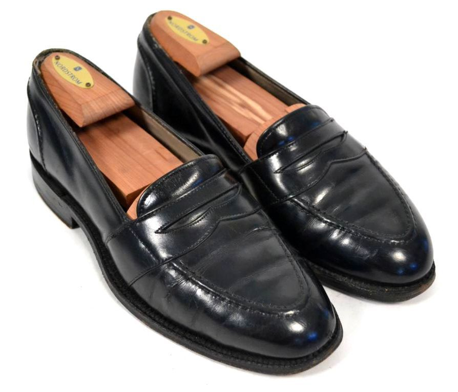 ALDEN Black Full Strap Penny Loafer Calfskin Leather Dress Shoes Mens Size 7 B/D #Alden #LoafersSlipOns