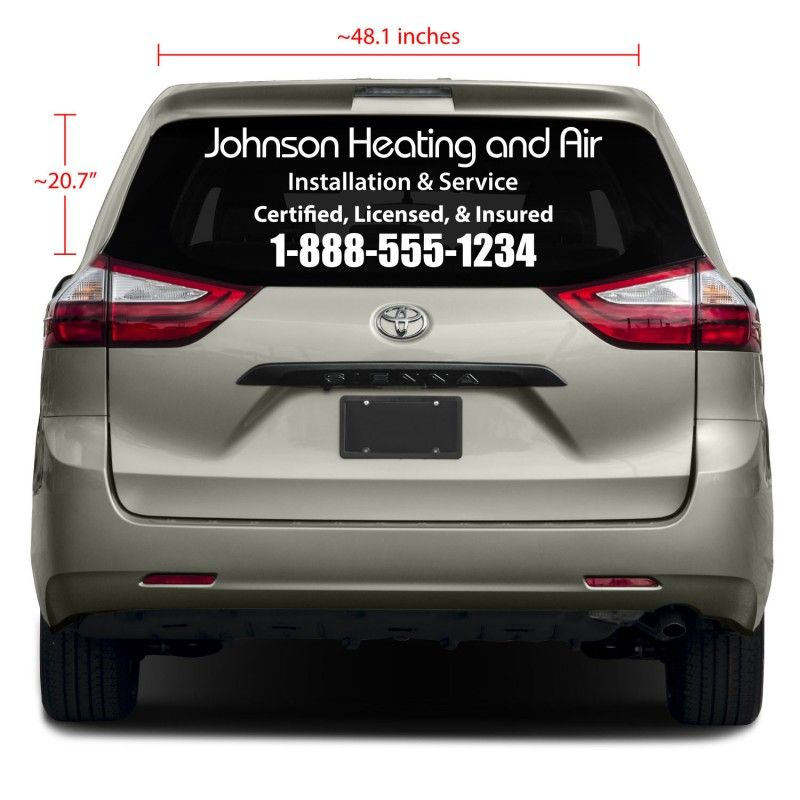 Our rear glass business vinyl decals are perfect for your companys mobile marketing why not advertise your business 24 7 while you are driving around town