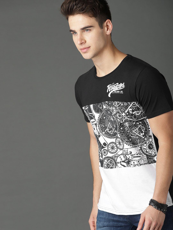 f4be686ff511 Buy Roadster Men Black & White Printed T Shirt - Tshirts for Men 6720276    Myntra