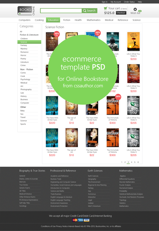 online e commerce category page template psd for online bookstore