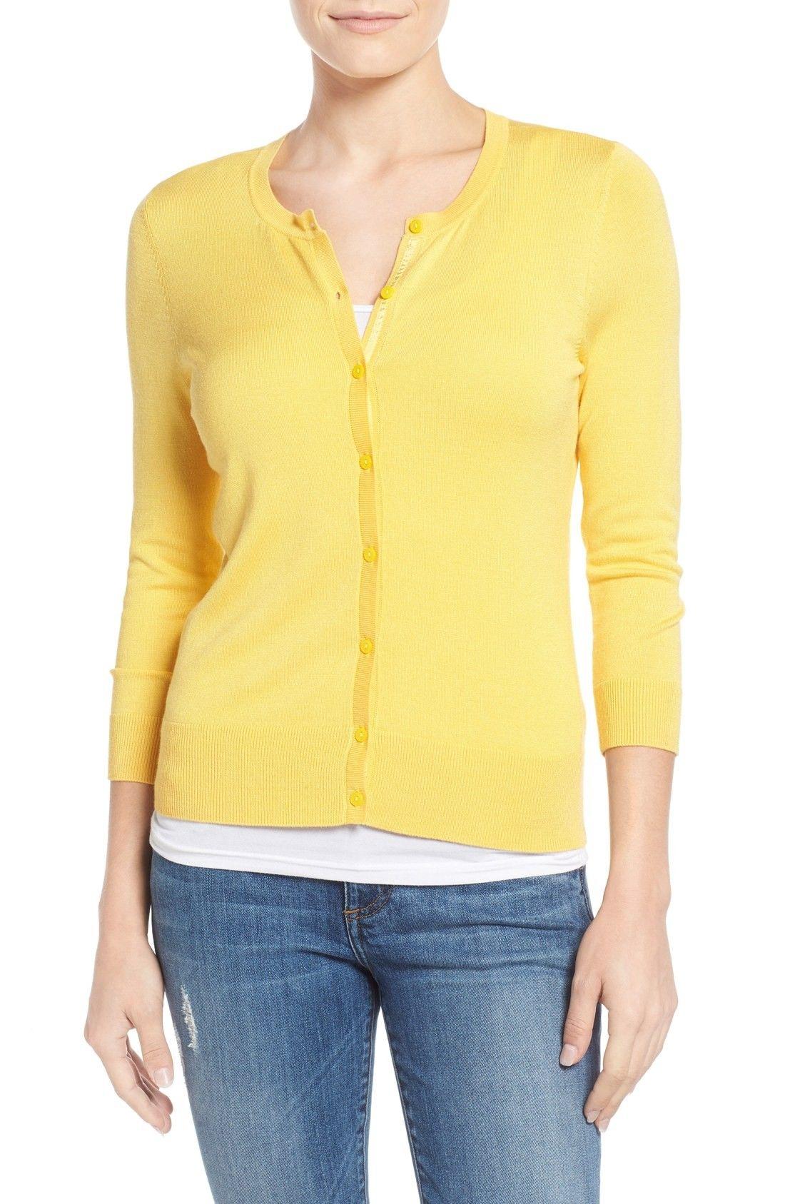 Halogen® Three Quarter Sleeve Cardigan (Regular & Petite ...