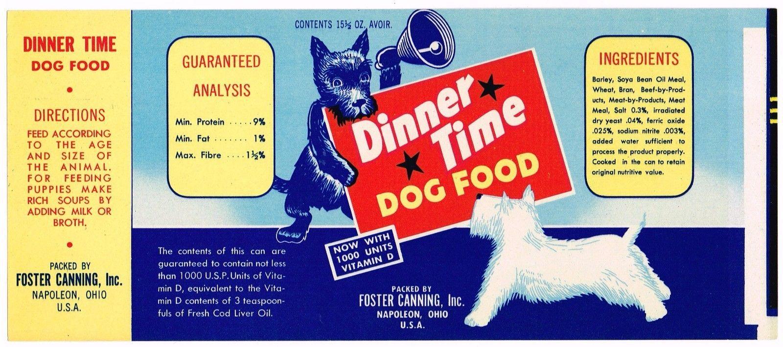 Vintage can label rare dog food 1950s dinner time terrier