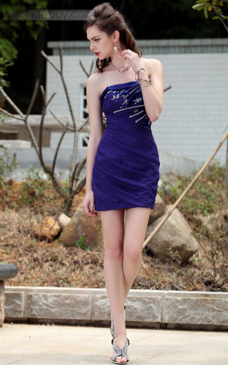 Column Mini-Length Strapless Cocktail/Homecoming Dresses